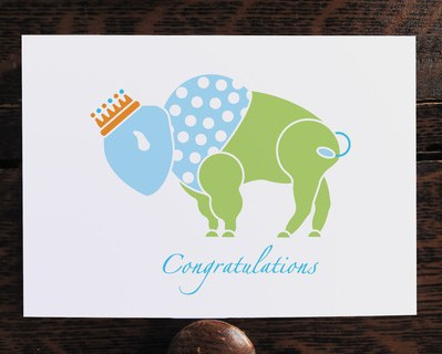 Buffalo Prince Baby Boy Card