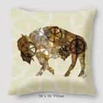 Buffalo Steampunk Pillow