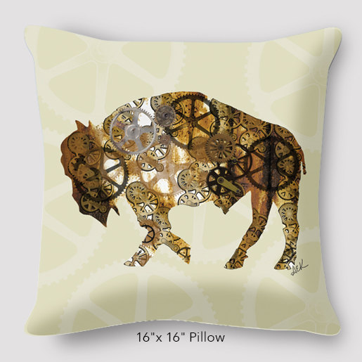 Buffalo Steampunk Pillow