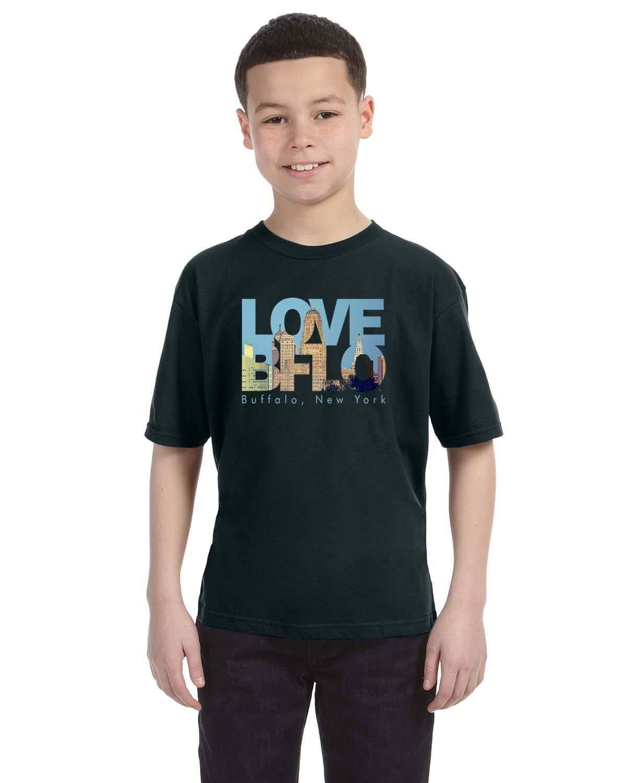 Love bflo t shirt for boys by marinette kozlow youth for Custom t shirts buffalo ny