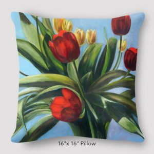 Inspired Buffalo_Rebecca_Gold_Tulips_16x16_Pillow