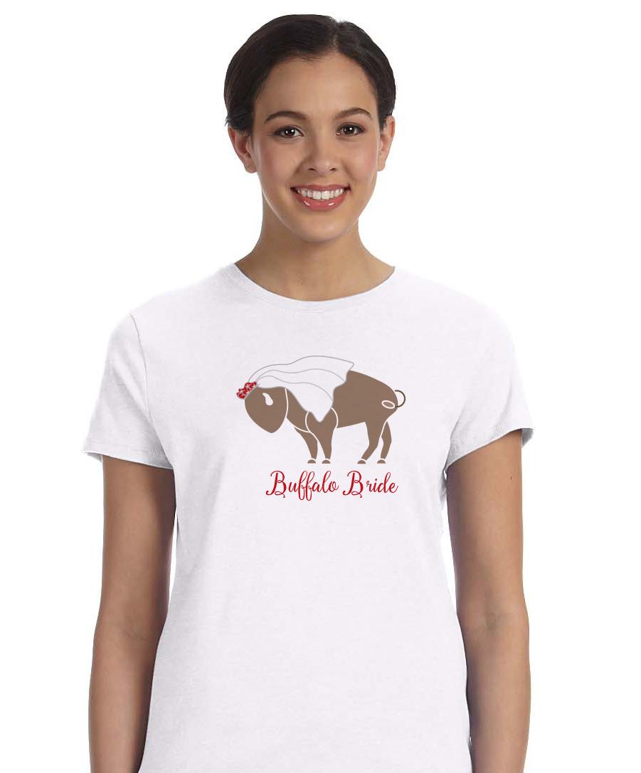 Buffalo bride wedding ladies t shirt by marinette kozlow for Custom t shirts buffalo ny